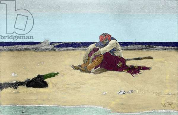 """Marooned pirate after """"Buccaneers and Marooners of the Spanish Main"""" by Howard Pyle (1853 - 1911), American illustrator. Grisaille. 1887"""