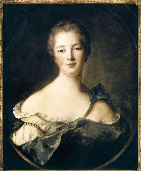 Portrait of Jeanne Antoinette Poisson, Marquise of Pompadour (dit Madame de Pompadour, 1722-1764) - Oil on canvas, 1748, by Jean Marc (Jean-Marc) Nattier (1685-1766) - Musee de Versailles