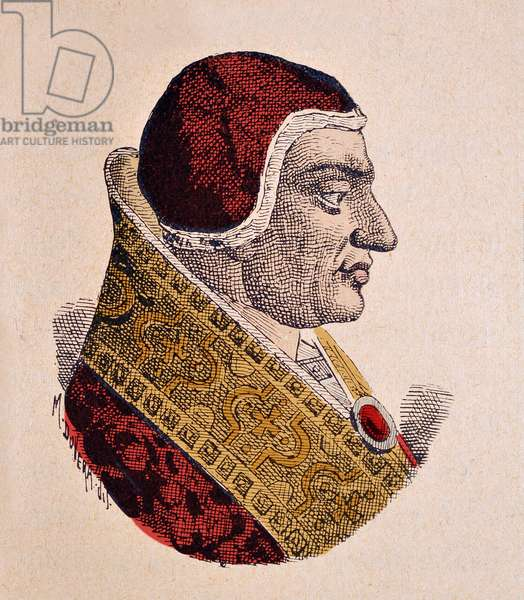 Portrait of the Pope Clement VI (Clemente or Clemens) (1342-1352), 1898 (engraving with later colouration)