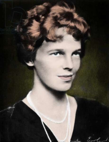 Portrait of Amelia Earhart (1898-1937), American aviator.