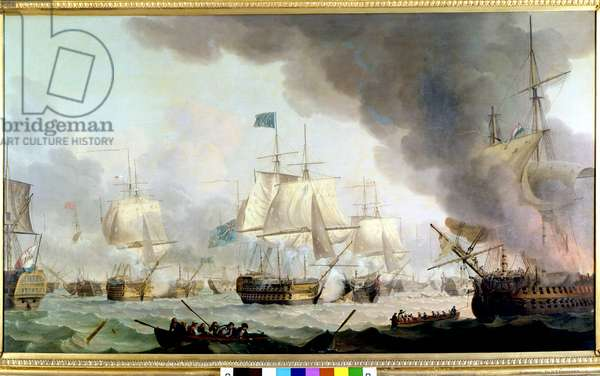 """Wars of the French Revolution: """""""" View of the Battle of Camperdown on 11/10/1797"""""""" She opposed the Dutch fleet to the English fleet. Painting by Thomas Whitcombe (1760-1824) Greenwich National Maritime Museum, London"""