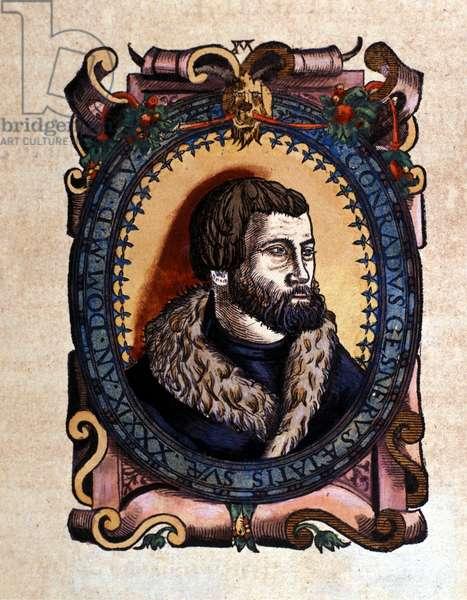 Portrait of Conrad Gesner (1516 - 1565) Zurich doctor after the Historia Animalium by Conrad Gesner, Tiguri 1560. Biblioteca nazionale Braidense. Milan