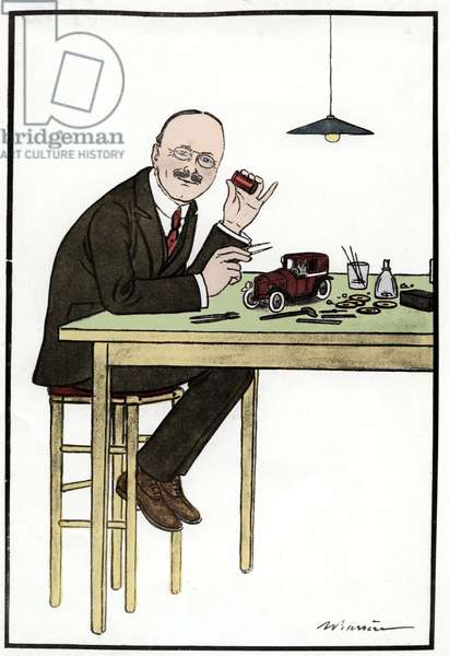 Andre Citroen (1878-1935), making a model car; drawing by Barriere.