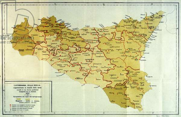 Map of density of mafia activities in Sicily. 1909
