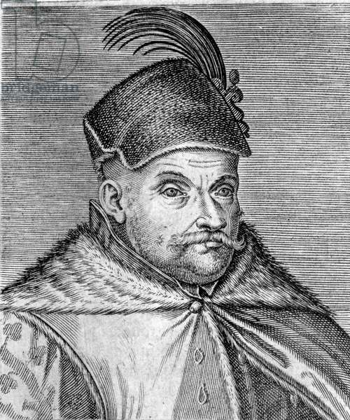 Portrait of Stephen I Bathory (1533-1586), Prince of Transylvania and King of Poland. Engraving of the 16th century