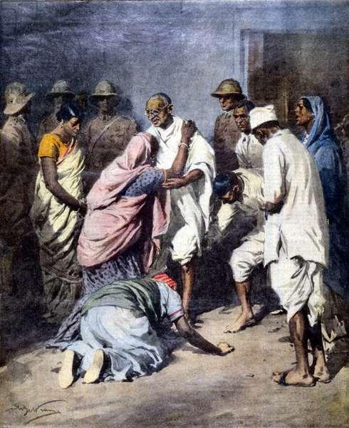 Arrestation de Mahatma Gandhi (1869 - 1948). Ill. de Achille Beltrame. La Domenica del Corriere. 1932