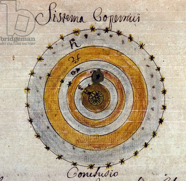 Representation of the system of Nicolas Copernicus (Nicolaus Copernicus, 1473-1543), a Polish doctor and astronomer. Manuscript from the 18th century.