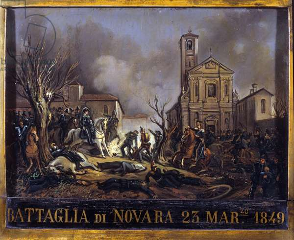 The Battle of Novara (Novara), March 23, 1849, between the Austrian troops of Joseph Radetzky and the Sardinian troops, marked the end of the first Italian war of independence. Anonymous painting. Milano Museo del Risorgimento