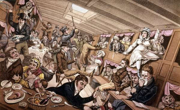 Seasickness. Illustration of the early 19th century.