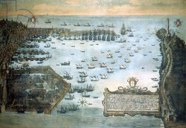 Port of Genoa in 1597. Museo Navale de Genova - Pegli.