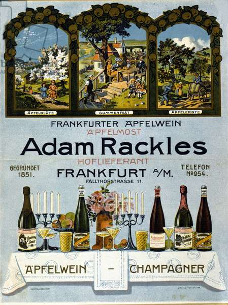 Poster representing different wines and champagnes of German production. 1925.