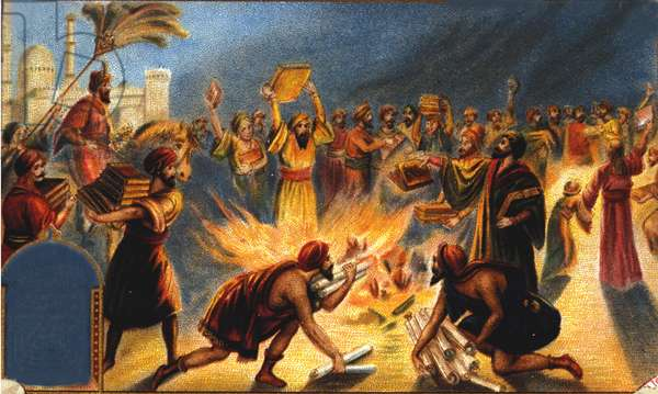 Caliph Omar I burns the library of Alexandria - Liébig advertising vignette. Chromolithography of the 19th century.