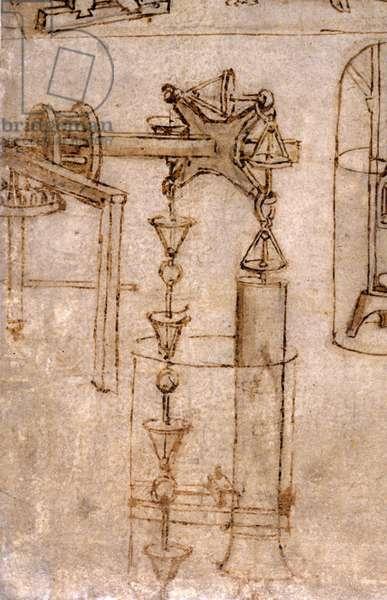Drawing by Leonardo da Vinci (Leonardo da Vinci) representing a noria (hydraulic machine). Feather and ink.