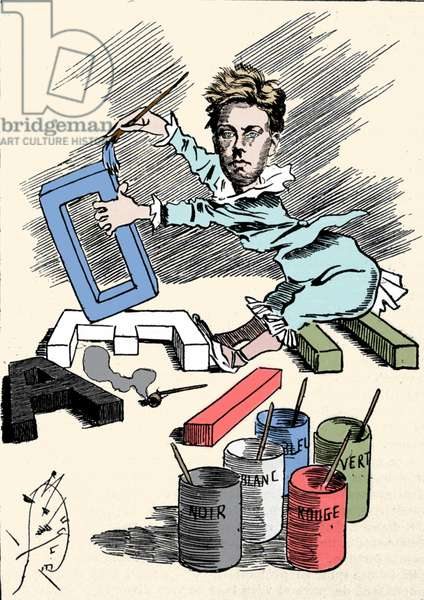 """Cartoon depicting the poet Arthur Rimbaud (1854-1891) covering alphabet letters with painting. Engraving from """"Men of Today"""""""""""