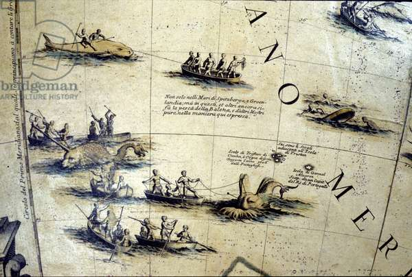 Whaling in the Pacific. Detail of a 17th century Coronelli globe.