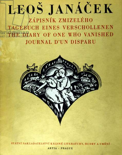 """Cover of the score """"""""Diary of a Disappeared"""""""" by Leos Janacek (1854 - 1928)."""