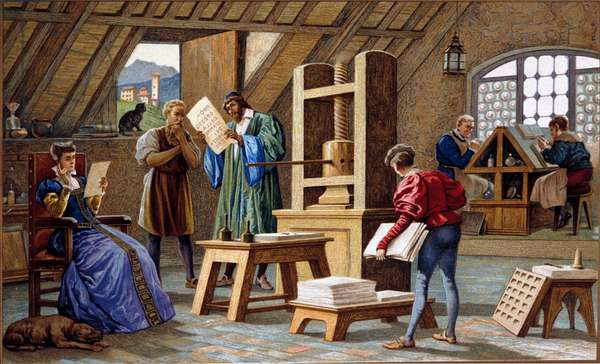 Johannes Gensfleisch Gutenberg (1400-1468), inventor of the printing press (1438). Chromolithography of the 19th century.