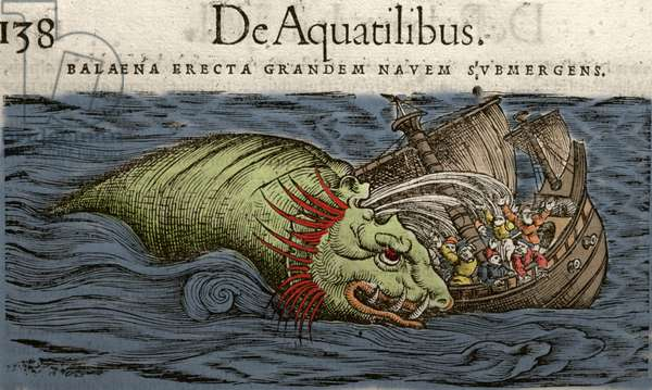 Sea Monster attacking a Ship, illustration from 'Historiae Animalium' by Conrad Gesner, 1560 (colour litho)
