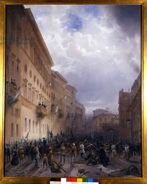 """Risorgimento: The Five Days of Milan (Cinque giornate di Milano) (18-22 March 1848): this is one of the first episodes of the Revolutions of 1848 (part of the First Italian War of Independence) that saw the rise of the Milanese population insurgent against the Austrian occupation of Josef Radetzky. """"Carlo Alberto gives a speech to the Milanese insurges from the balcony of Casa Greppi"""" The Sardinian King Charles Albert (1798-1849) supports the Milanese insurges. Painting by Carlo Bossoli (1815-1884) 1848 around Milan, Museo del Risorgimento"""
