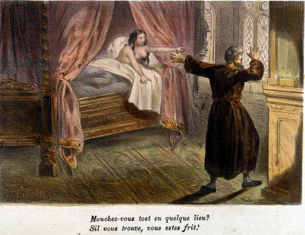 Adultery: a surprised monk trying to hide and a naked woman in bed. Lithograph sd. early 19th century.