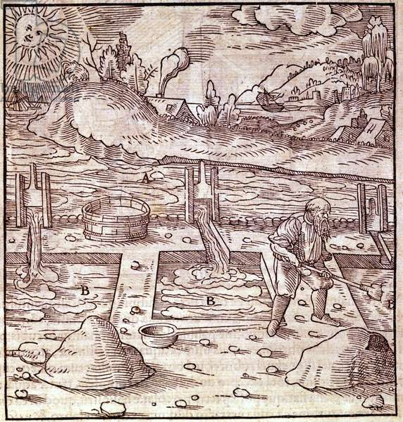 """Bitumen recovery. Georg Bauer """""""" Agricola De Re metallica"""""""" book of the 15th century. Bibl. of the Museum of Science, Milan."""