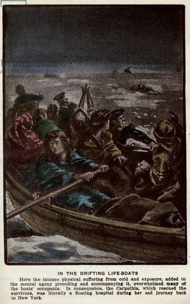 """On board the Titanic's rescue channels during its sinking in April 1912. Illustration from """"The Sinking of the Titanic and Other Great Sea Disasters"""" by Logan Marshall, 1912."""