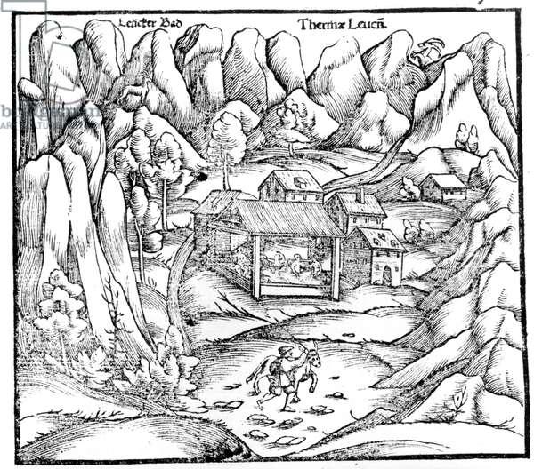 Baths of Baden (Austria), engraving 16th century.