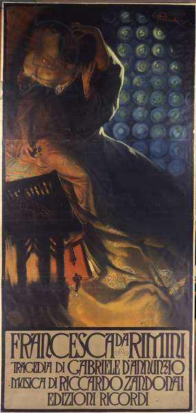 Francesca da Rimini composée par Riccardo Zandonai et ecrit par Gabriele D'Annunzio: affiche de Giuseppe Palanti (1881-1946) pour le Theatre Regio de Turin, premiere representation le 19 fevrier 1914.