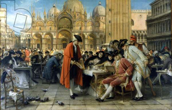 The painter Francesco Guardi sells his paintings in front of the Florian café. 1892. Painting by Giuseppe Bertini. Galleria d'Arte Moderna, Milan.