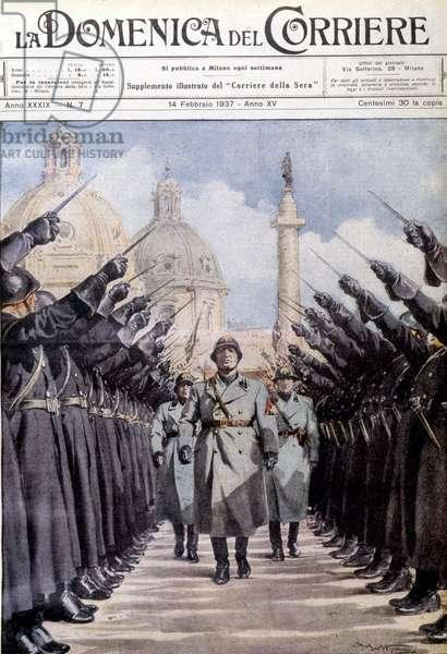 """Inspection of the militia by Mussolini - in """"La domenica del Corriere"""""""", 14 February 1937"""