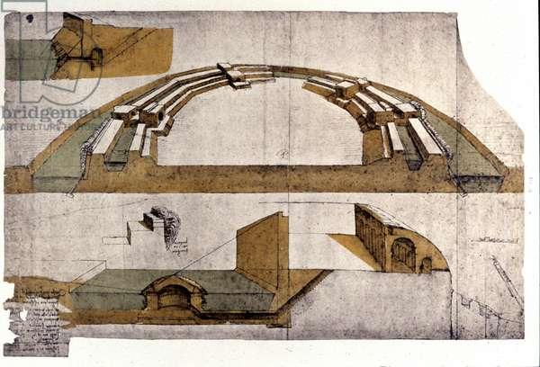 Drawing by Leonardo da Vinci (Leonardo da Vinci) representing the fortifications. Codex Atlantic.