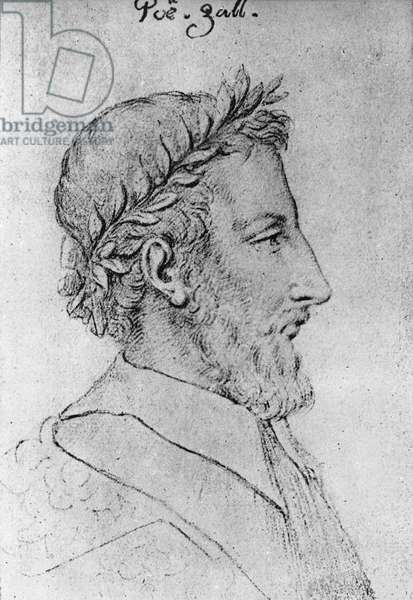 Representation of the French poet Pierre de Ronsard (1524-1585). drawing