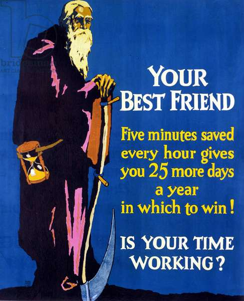 """American poster broadcast after the Great Crisis of 1929 encouraging savings and entrepreneurship. This is an allegory of time holding an hourglass: """"Your best friend. Save 5 minutes an hour, in a year you will save 25 days to achieve success. Is your time spending well?"""" Wallard Frederic Elmes."""