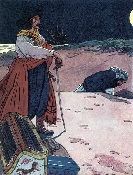 """The treasor is buried Illustration from """"The boys book of pirates"""""""" by George Albert Williams (1875-1932) 1914 Private collection"""