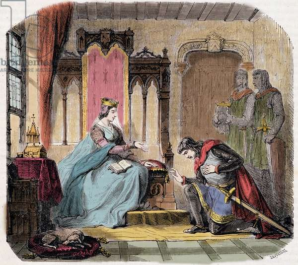 """Thibault IV of Champagne (1201-1253) (also known as Thibault I of Navarre), came at the feet of the Queen Blanche of Castile to warn her of the danger she would run - in """"Paris a travers les cuecles"""" by de Genouillac, 1881"""
