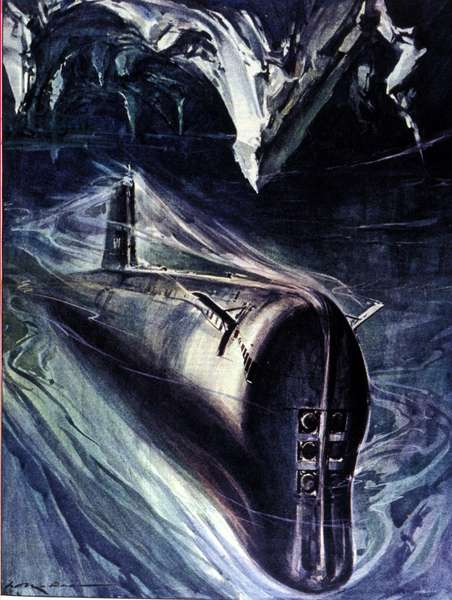 View of the USS Nautilus (SSN-571), first nuclear submarine (submarine) to be immersed in the Arctic cap. 1958