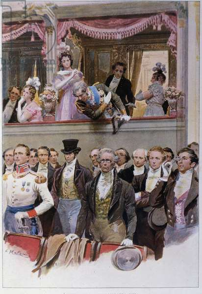 """The evening of the """"""""scappellotto"""""""" evening (the float) at the Teatro alla Scala (6/01/1916). At the evening in honour of Francis I of Austria (1830-1916), a young patriot kept his hat on his head during the national anthem. General Sarau knocked the hat of the disrespectful spectator to the ground. Illustration by Ugo Matania."""