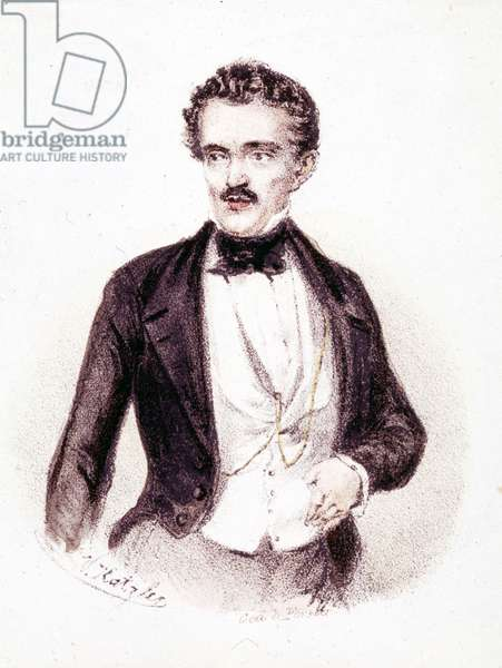 "Johan Strauss Jr. (1825 - 1899), author of ""Beautiful Blue Danube"" and ""Bat - Mouse"" in 1874. Drawing."