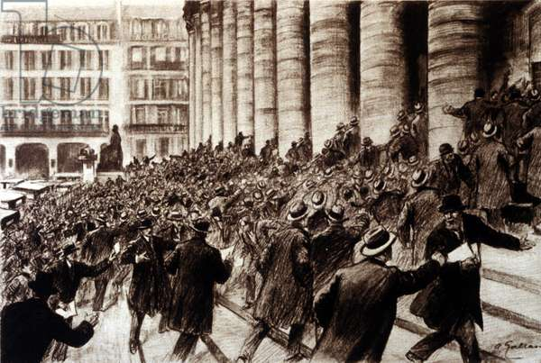 Panic at the Paris Stock Exchange following the news of the Wall Street Stock Crash in 1929.