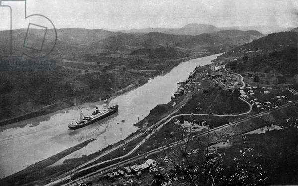 "The steamboat ""Cristobal"""" crossing the section of the Culebra at the opening of the Panama Canal, 1914. Photography"