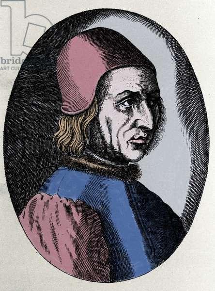 "portrait of Angelo Poliziano ((Police Angel) Italian humanist 1454-1494. in """" Virorum Doctorum effigies"""""" by Filippo Galli, 1572."