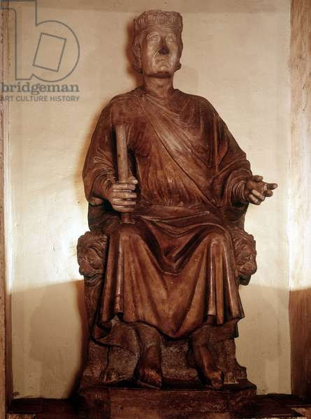 Charles I of Anjou (1227 - 1285). Sculture of Arnolfo di Cambio. Rome, Palace of Conservatives.