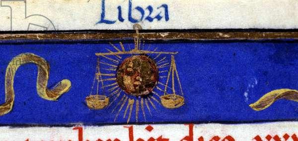 Sign of the zodiac: the balance. 15th century manuscript.