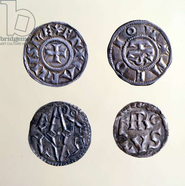 Coins from the period of Charlemagne, 9th century.