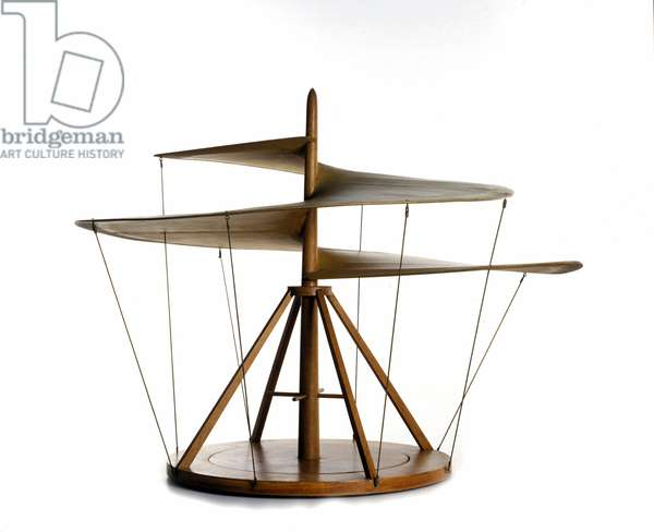 Model of the air screw made from the drawing of Leonardo da Vinci (Leonardo da Vinci), flying machine, helicopter ancestor - Museum of Science and Technology of Leonardo da Vinci, Milan