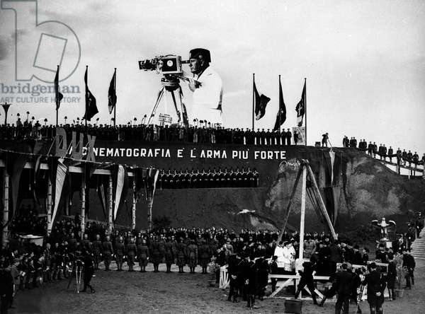 Fascist Italy: inauguration of the new headquarters of the Luce Film Institute near Cinecitta, Rome 10/11/1937.