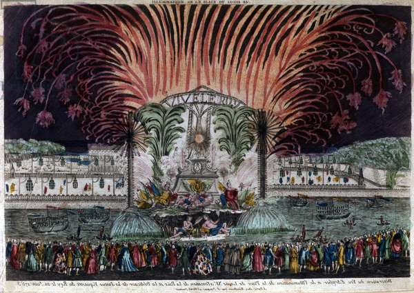 Illumination and fireworks on Place Louis XV in Paris on the occasion of peace and the inauguration of the king's equestrian statue on 22 June 1763. Privee Collection