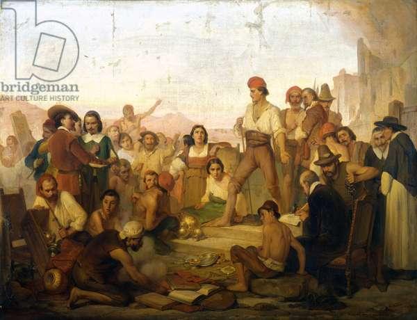 the revolt of the Neapolitan fisherman Tommaso Aniello, known as Masaniello (1622-1647) in Naples in 1647. Painting of Mazza. Museo della scienza di Milano