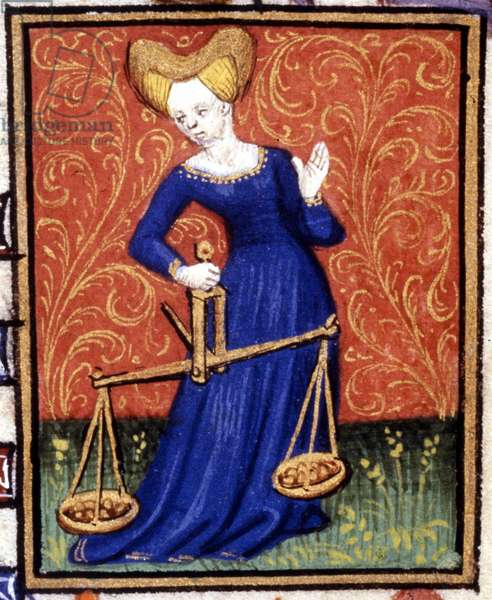 The Libra. Miniature of a horoscope. 15th century manuscript. Bibl. Trivulziana, Milan.