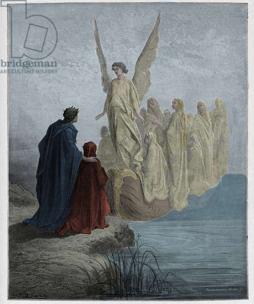 Purgatorio, Canto 2 : The celestial pilot lands the boat, illustration from 'The Divine Comedy' by Dante Alighieri, 1885  (digitally coloured engraving)